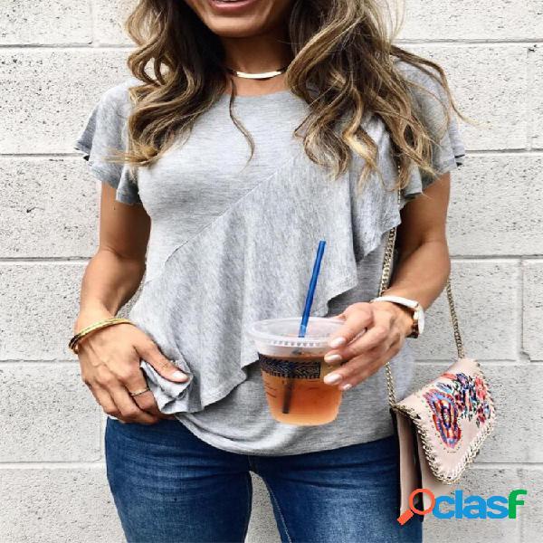 Camiseta com decote em o de manga curta de cor sólida com babados para mulheres