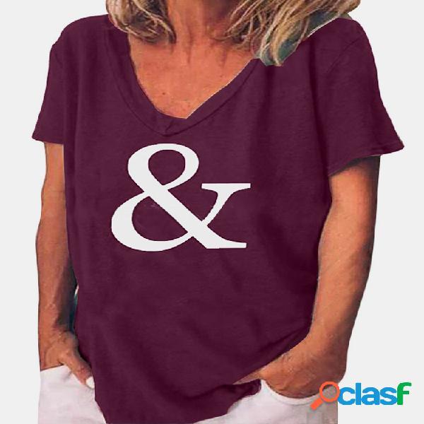 Camiseta de manga curta com decote em v impressa casual para mulheres