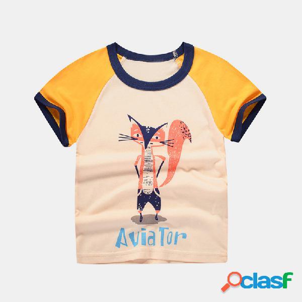 Dinossauro animal do menino dos desenhos animados impressão de manga curta t-shirt casual para 2-10a