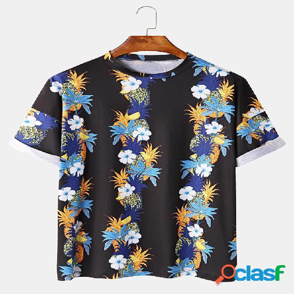 Mens tropical planta & fruit printed abacaxi camisa manga floral t-camisa