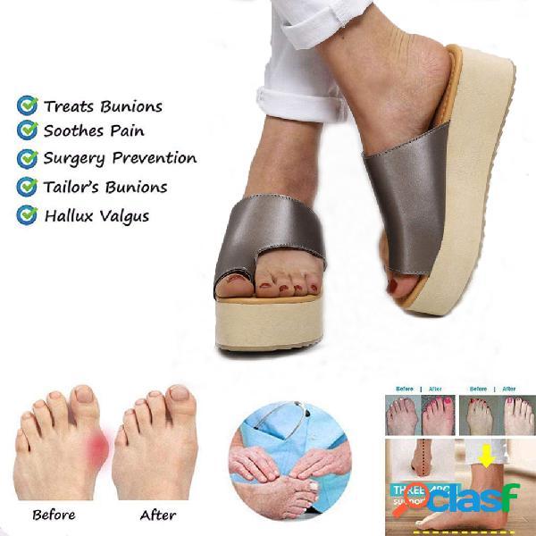 Mulheres casual wearable praia dedo do pé casual joanetes ortopédicos corrector plataforma chinelos