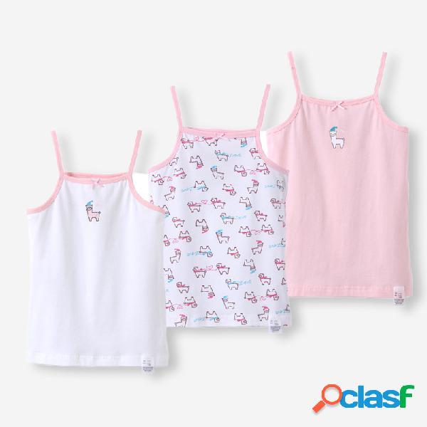 Rosa cute print casual algodão soft colete pijama da menina para 2-12a