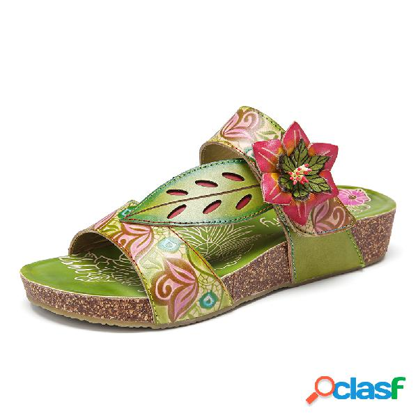 Socofy bohemia floral slip-on slides gancho sandálias rasas