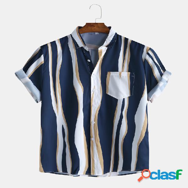 Camisas masculinas simples striola com bolso no peito manga curta casual