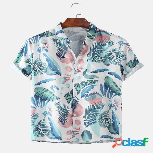 Desenhos animados masculinos de plantas tropicais impressas praia camisas de manga curta respirável