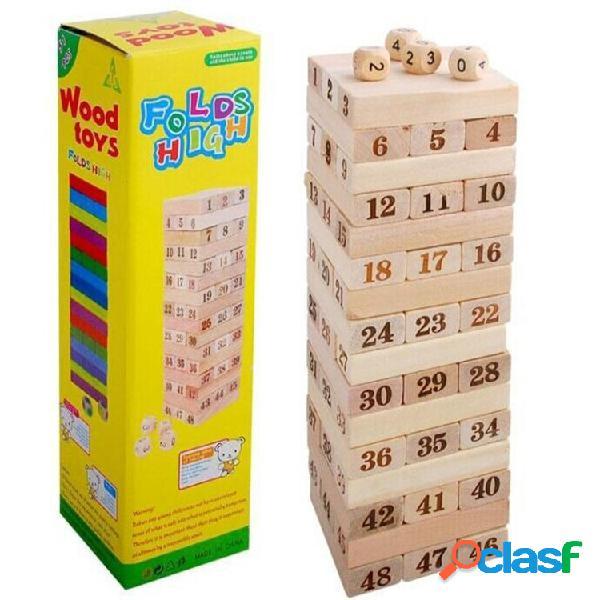 Jogos de tabuleiro torre dominó jogo empilhador de árvore brinquedos de madeira para crianças brinquedos educativos presente para crianças