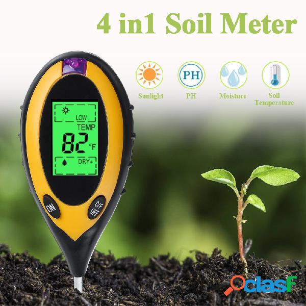 Medidor de ph do solo detector de luz para testador de solo quatro-em-um medidor de ph da acidez do solo umidade do solo termômetro