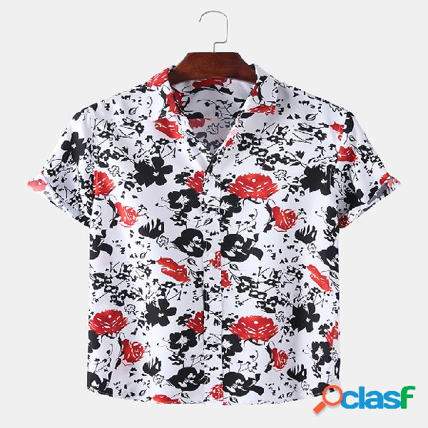 Mens holiday style floral allover printed button camisas de manga curta