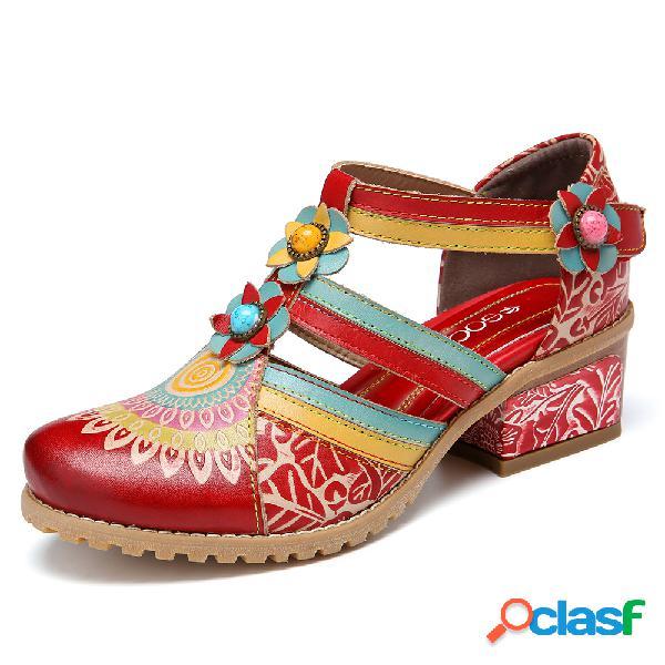 Socofy bohemia ethnic style stitching beading floral chunky heel bombas
