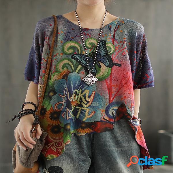 T-shirt de manga curta para mulheres com estampa de borboleta e desenho animado