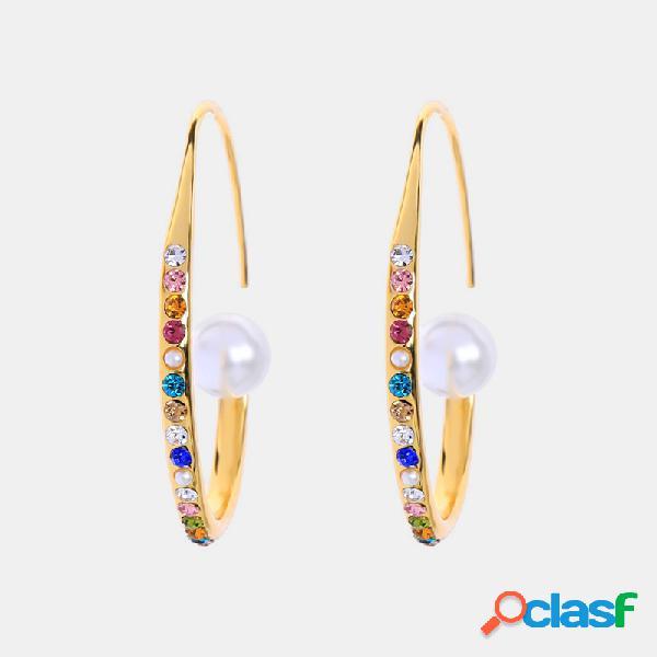 Temperamento vintage colorful diamante pérola brincos espiral redonda de metal geométrica brincos