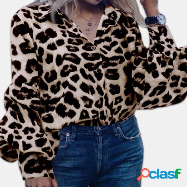 Blusa casual com estampa de leopardo plus blusa casual tamanho