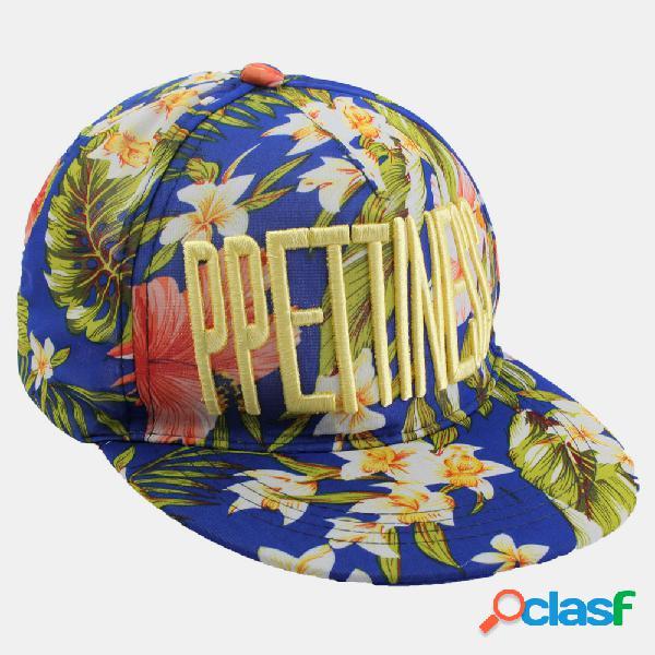 Boné de beisebol floral feminino unisex repicado viseira snapback ajustável hip hop chapéus