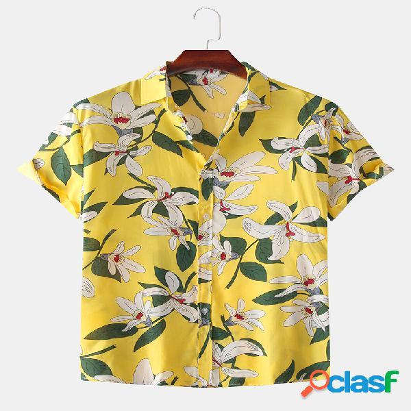 Camisas de manga curta masculina férias havaianas soltas com estampa floral