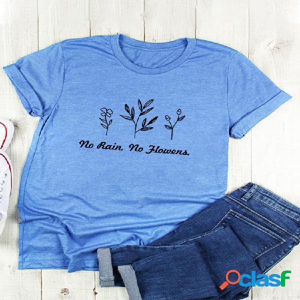 Camiseta básica casual floral manga curta com decote em o