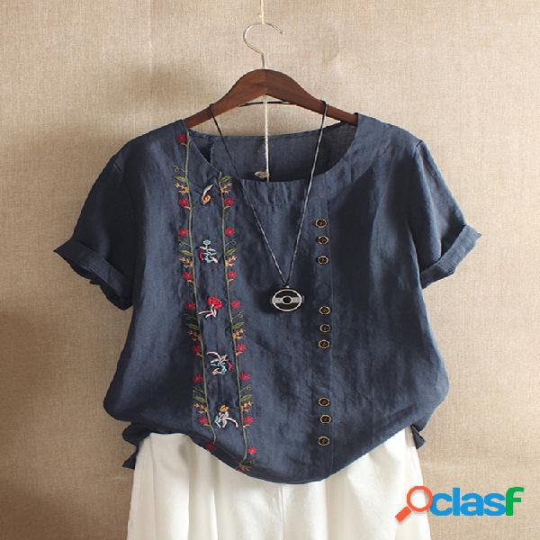 Camiseta de manga curta com decote em o bordado vintage