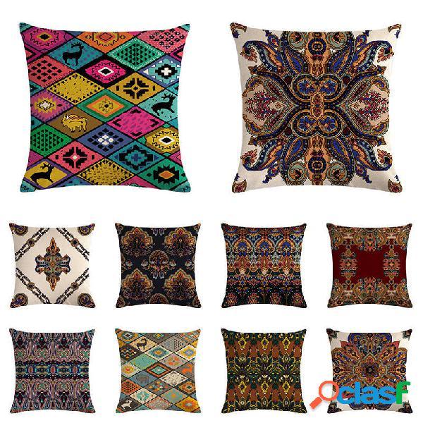 Capa de almofada de linho geométrico boêmio de algodão fronhas para sofá doméstico