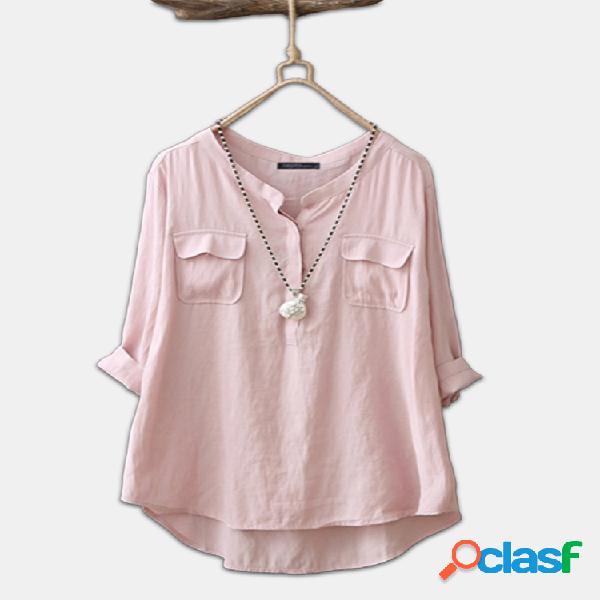 Casual cor sólida manga longa plus tamanho algodão camisa
