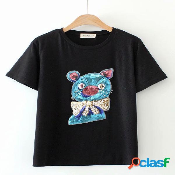 Casual t-shirt do pescoço das lantejoulas dos desenhos animados de manga curta para mulheres