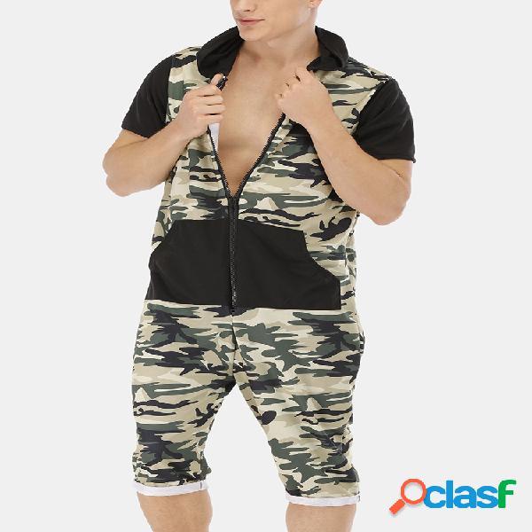 Macacões de patchwork com estampa de camuflagem masculina e pijama com capuz de manga curta
