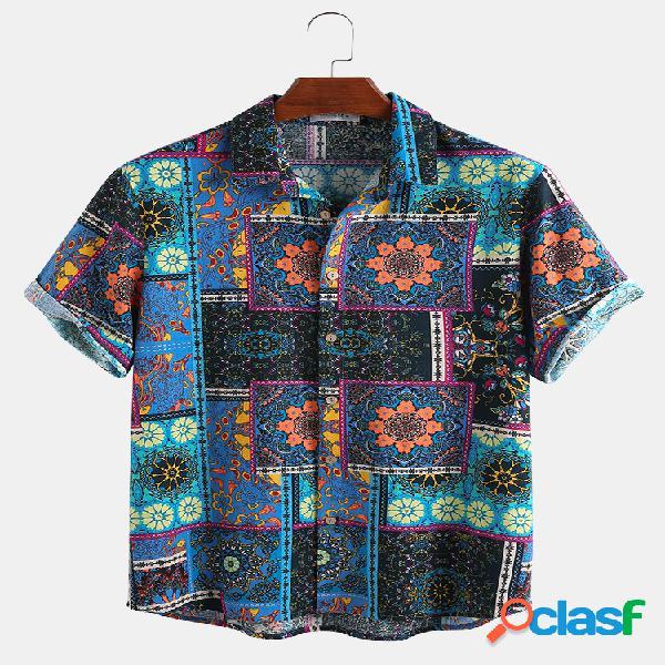 Mens 100% algodão étnico bloco de cor patchwork bandana estampa manga curta camisa