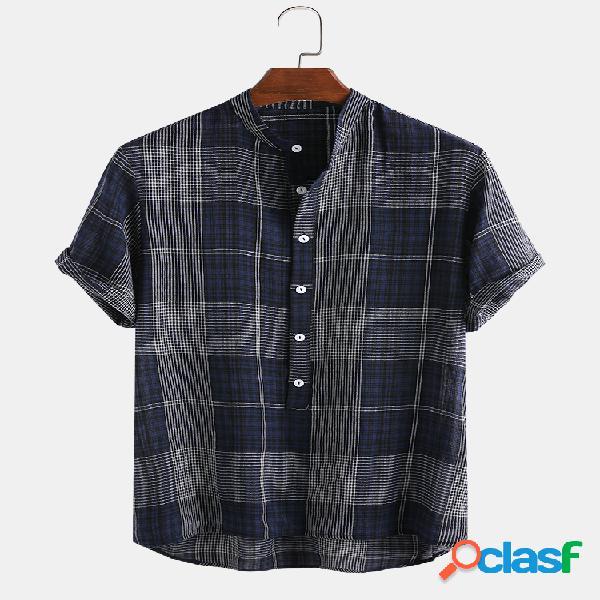 Mens 100% algodão xadrez casual loose stand collar henley camisa