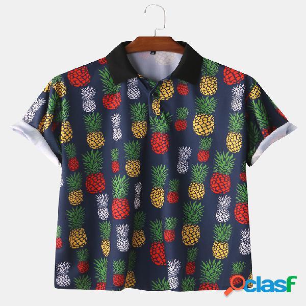 Mens casual abacaxi impresso manga curta slim fit camisas polo