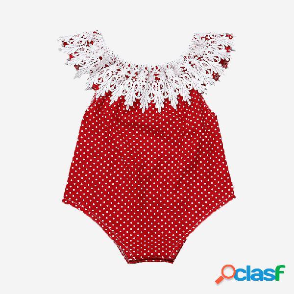 Baby lace collar dot print macacão casual para 6-24m