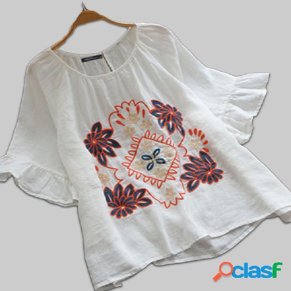 Blusa de algodão bordado manga plissada plus tamanho solto
