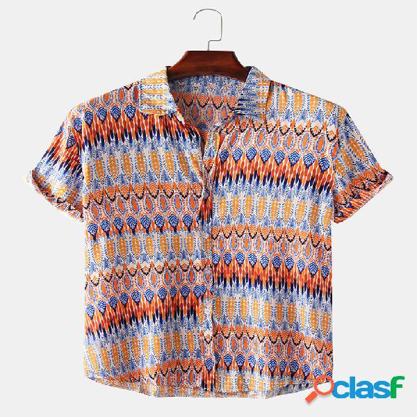 Camisas de manga curta masculina com estampa étnica asteca