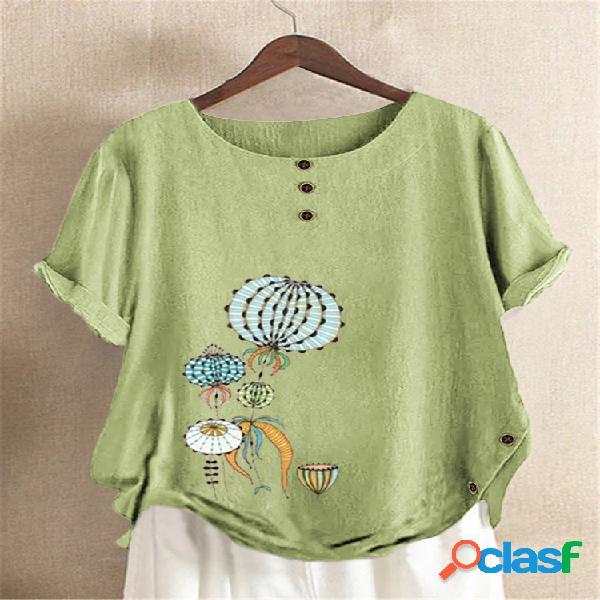 Camiseta de manga curta com estampa de desenho animado com botão lateral e decote redondo