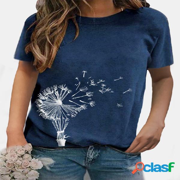 Camiseta de manga curta com estampa de flores casual com decote em o