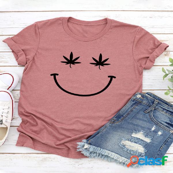 Camiseta de manga curta estampada smile com decote em o para mulheres