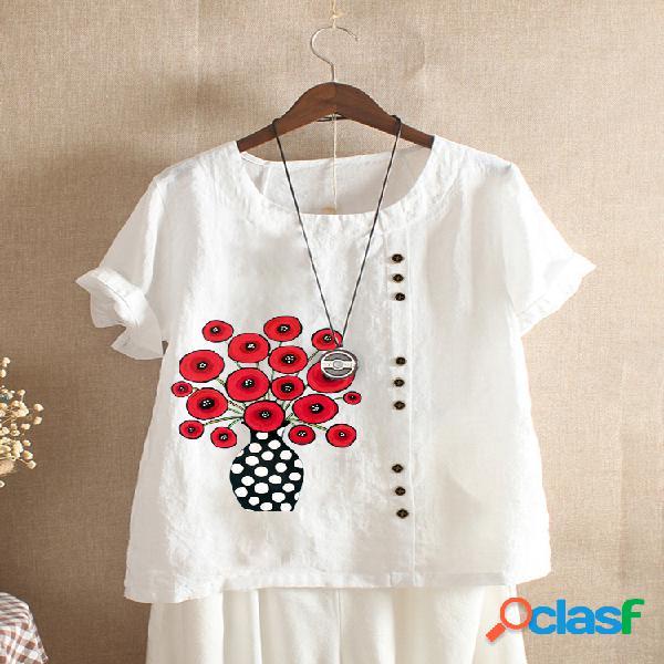 Camiseta feminina com estampa de desenho animado com gola redonda e manga curta