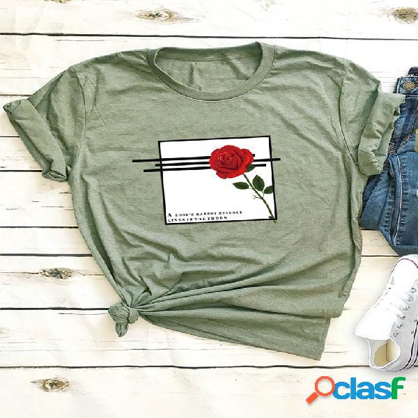 Carta flor rosa imprimir t-shirt de manga curta para mulheres