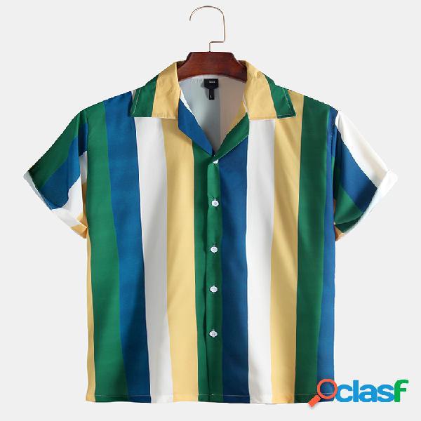 Masculino verde limão listrado manga curta casual camisa