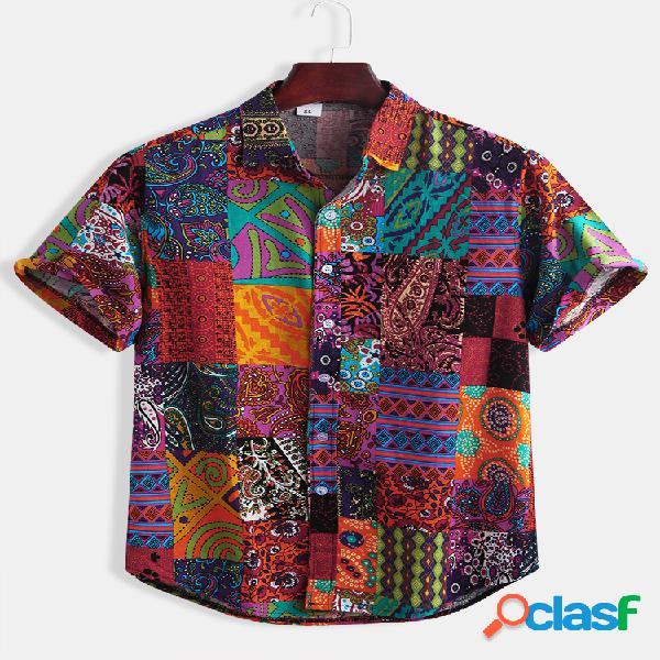 Mens designer 100% algodão étnico geométrico bloco patchwork estampado floral manga curta camisa