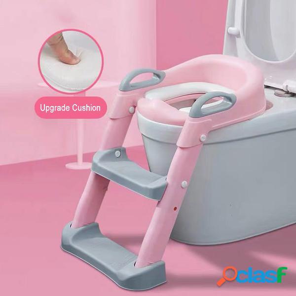 Assento de treinamento potty de crianças com escada de escadinha para cadeira de banheiro de criança pequena