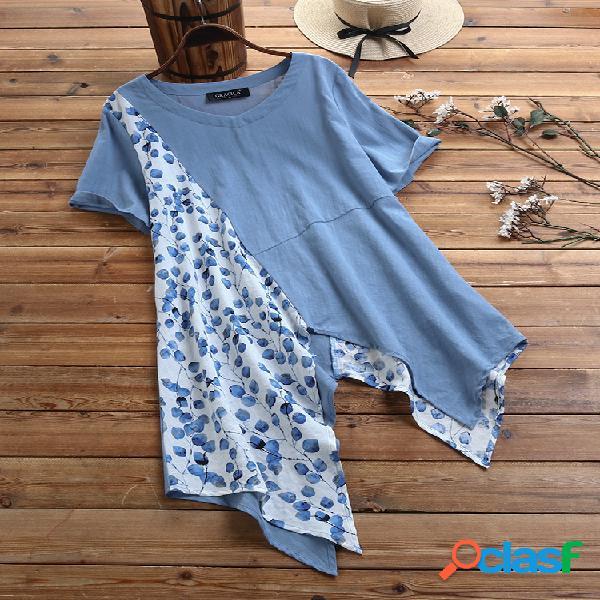 Blusa com estampa floral patchwork irregular bainha de manga curta com decote em v