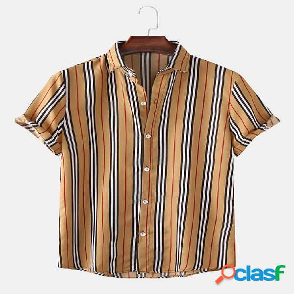 Camisa masculina classic listrada manga curta casual solta gola virada para baixo