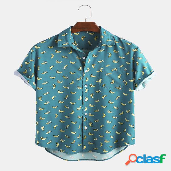 Camisas de manga curta estampada banana curta masculina