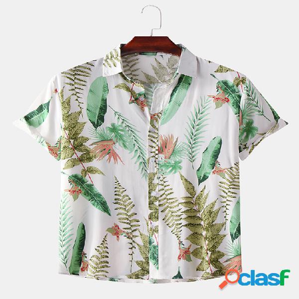 Camisas de manga curta masculina simples folha estampada gola virada para baixo