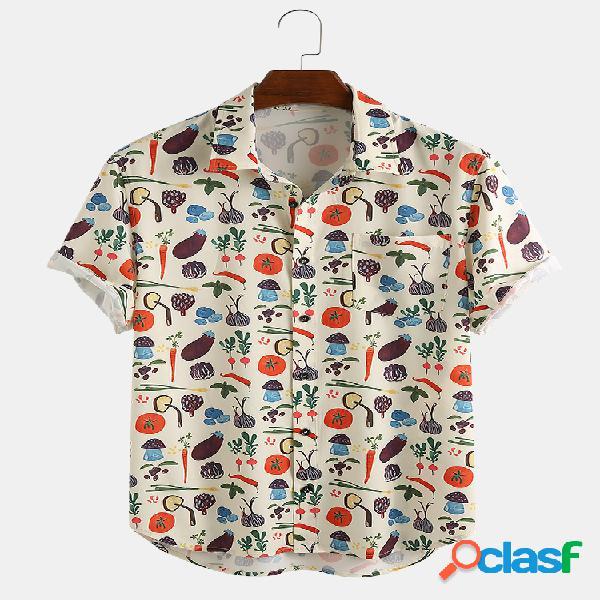 Camisas masculinas de manga curta com estampa de bolso no peito com estampa de desenhos animados bonitos vegetais