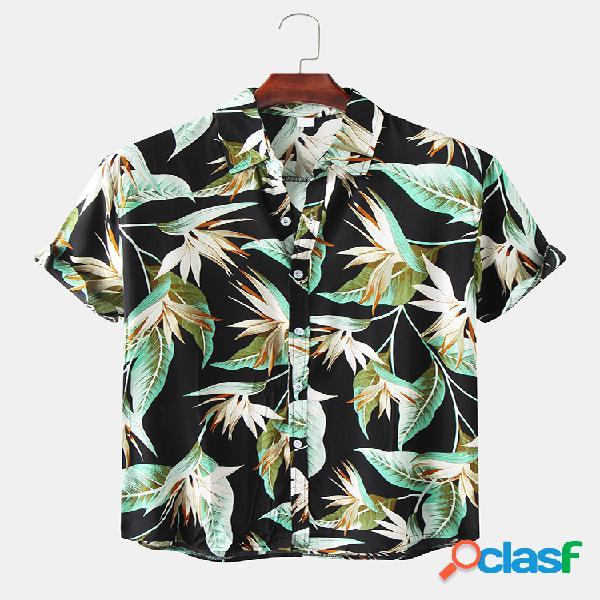 Camisas masculinas vintage com estampa allover com gola para baixo