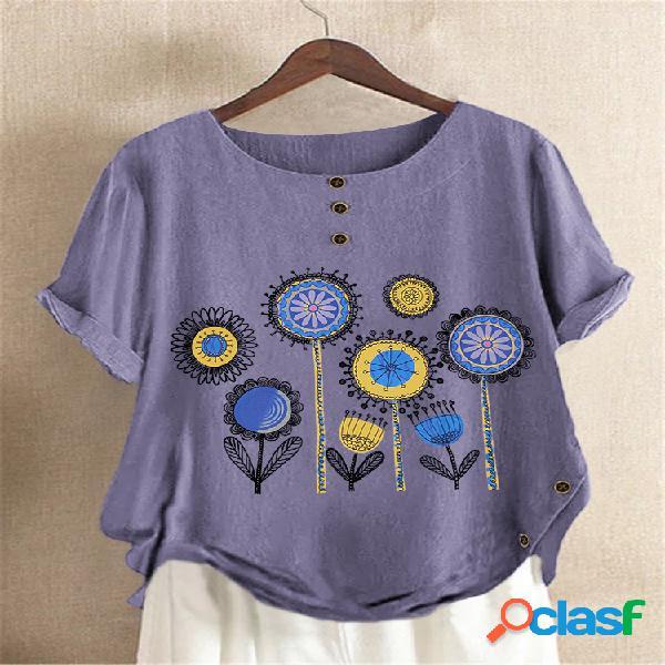 Camiseta casual com estampa de flores de manga curta e decote em o com botão lateral