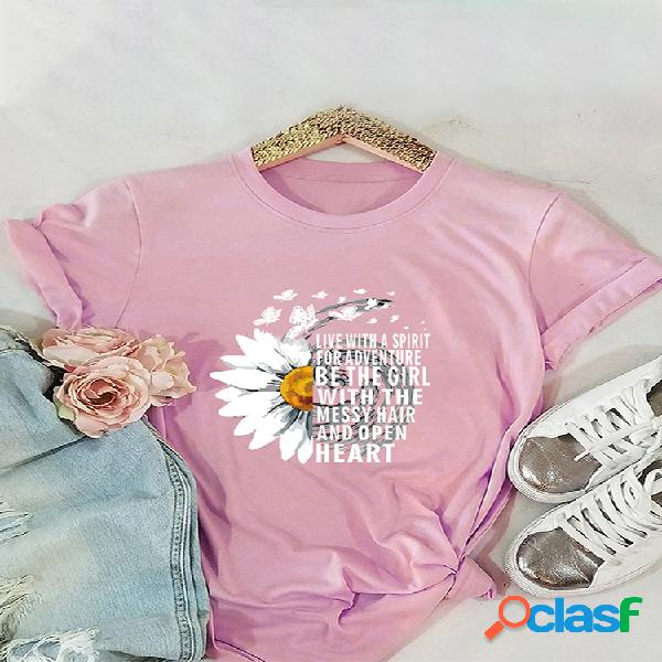 Camiseta de manga curta para mulheres com estampa borboleta margarida