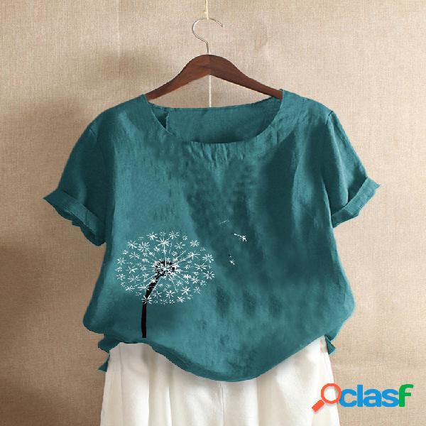Camiseta feminina de manga curta com estampa floral