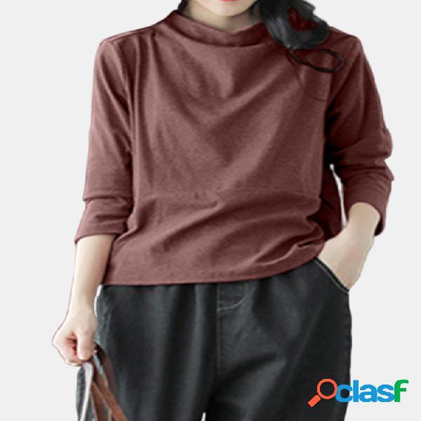 Casual solid color crewneck 3/4 sleeve plus blusa de tamanho