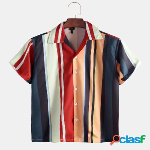 Masculino listrado impresso feriado manga curta camisa