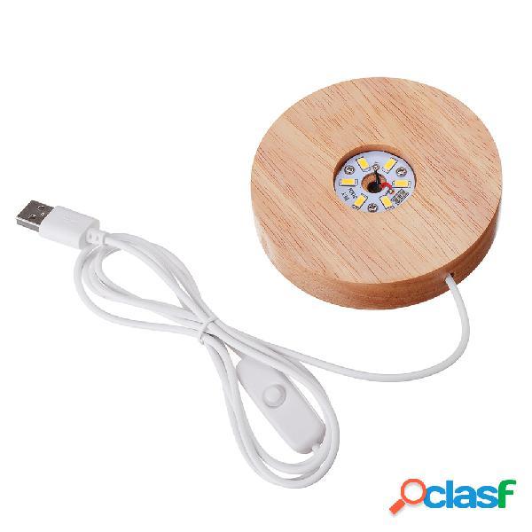 Suporte da lâmpada circular de madeira maciça usb trophy laser led base de suporte de luz